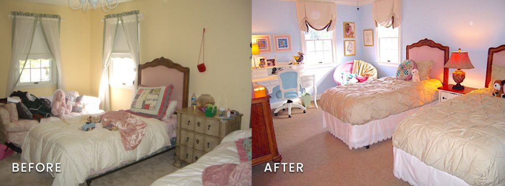 A cluttered little girl's room becomes a colorful haven