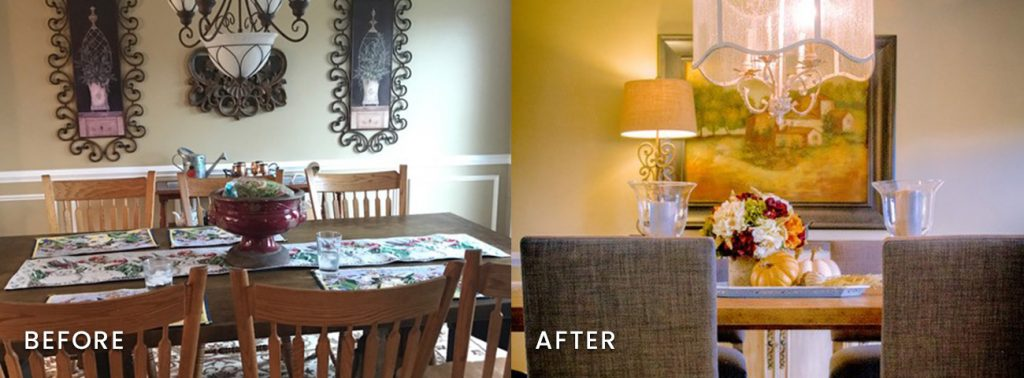 A dining room goes from clunky to clean and chic